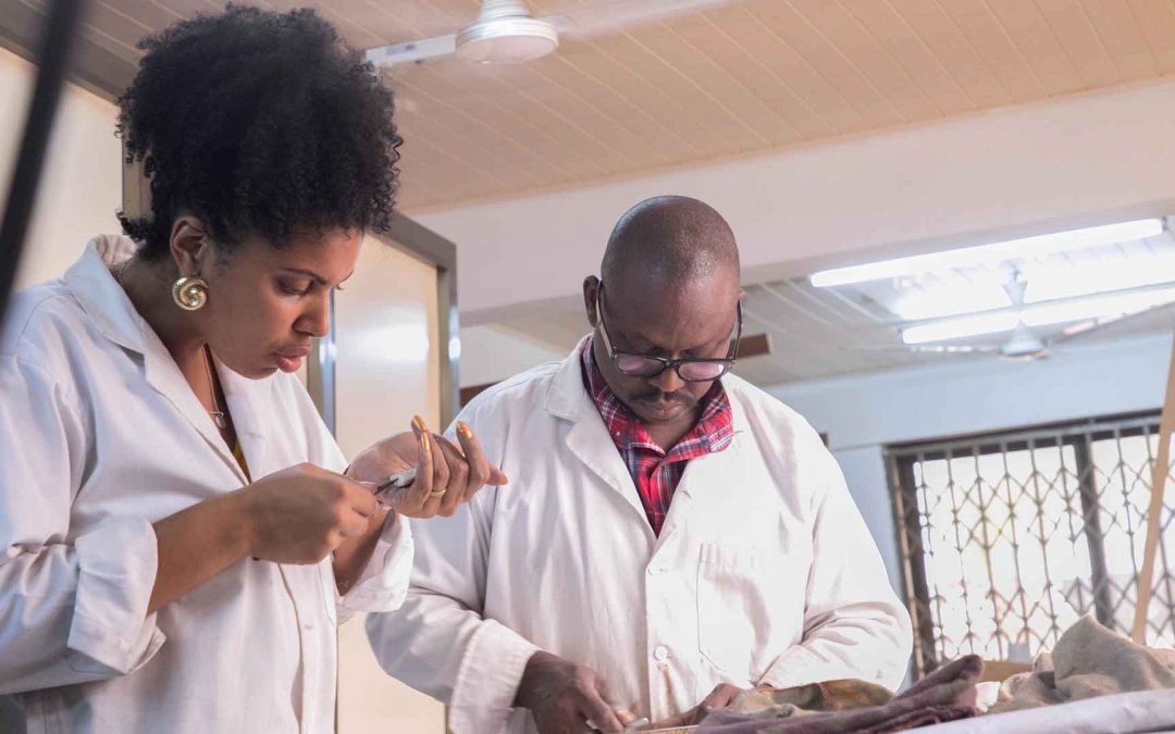 Lecturer taking an International student through jewellery making lessons